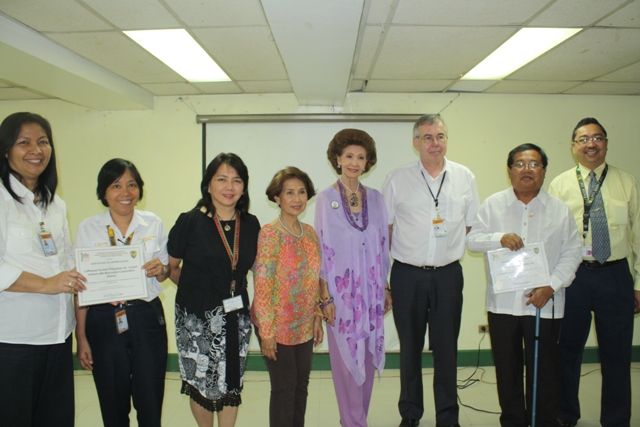 (L-R) Ms. Wayne Llegado— Manager Financial Accounting Lufthansa Technik Philippines, Ms. Ditas Salayon—Employee Council Representative Lufthansa Technik Philippines, Dr. Joy Evangelista—Past Chairman Dept. of Rehabilitation Medicines, Ms. Agnes Essem Perez—Treasurer PGHMFI, Mme. Lolita Escobar-Mirpuri—Corporate Secretary PGHMFI , Mr. Gerald Frielinghaus—President & CEO Lufthansa Technik Philippines, Dr. Gregorio Alvior Jr.—Chairman & Past President PGHMFI and Dr. Jose Alvin Mojica—Chairman Dept. of Rehabilitation Medicines